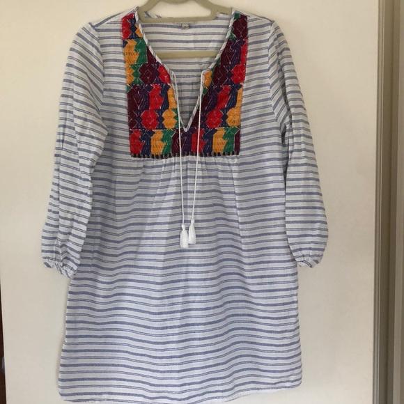 J. Crew Dresses & Skirts - J. Crew Embroidered Stripe Beach Tunic